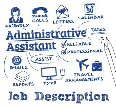 administrative assistant – chart with keywords and icons