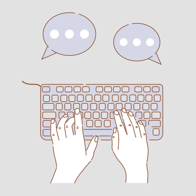 Hands typing on keyboard vector cartoon illustration. Hands doing business, chatting, web communications.